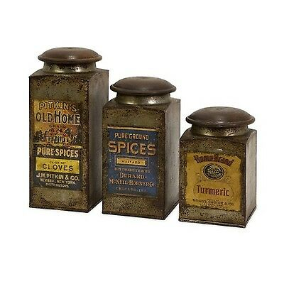 IMAX 73046-3 Addie Vintage Label Wood and Metal Canisters Set of 3 Multic... New