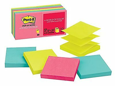 Post-it Pop-up Notes 3 in x 3 in Cape Town Collection 12 Pads/Pack 100 Sh... New