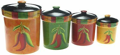 Certified International Caliente 4-Piece Canister Set New