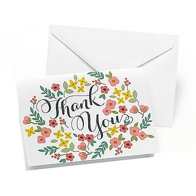 Hortense B. Hewitt 50 Count Retro Floral Thank You Cards New