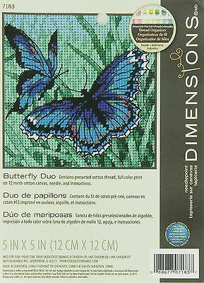 Dimensions Needlecrafts Needlepoint Butterfly Duo 5x5 Stitched In Thread New