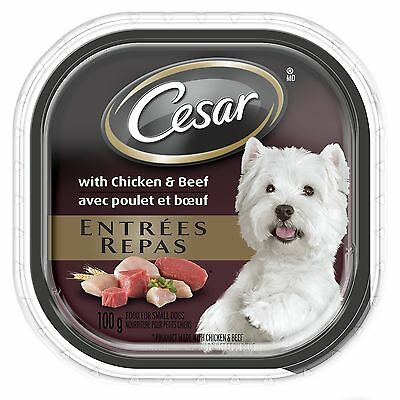 Cesar Entrees with Chicken and Beef Food for Dogs 24 Pack/100g New