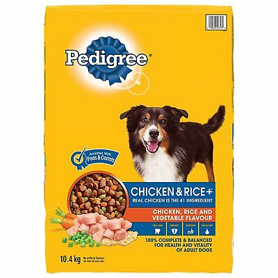 Pedigree Vitality Plus Chicken and Rice Dry Food for Dogs 10.4kg New