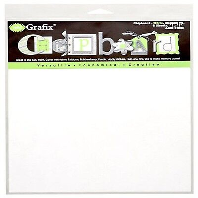 Grafix Medium Weight 12-Inch by 12-Inch Chipboard Sheets White 6-Pack New