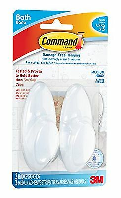 Command Medium Bath Hooks with Water-Resistant Strips (BATH18-EF) New