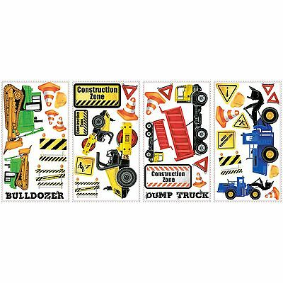 RoomMates RMK2330SCS Construction Trucks Peel and Stick Wall Decals New