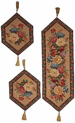 DaDa Bedding TR-3089 3-Piece Breath of Spring Woven Table Runner Floral New