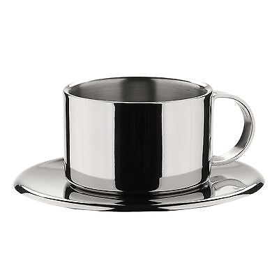 MIU France Set of 4 Stainless Steel Espresso Cups and Saucers Silver New