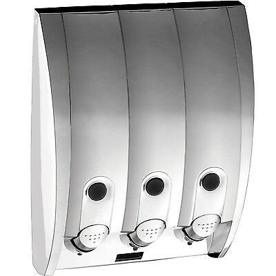 Better Living Products Curve 3-Chamber Soap and Shower Dispenser Silver G... New