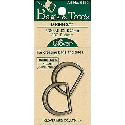 Clover Bags and Totes 3/4-Inch D Rings Black Nickel 2 EA New