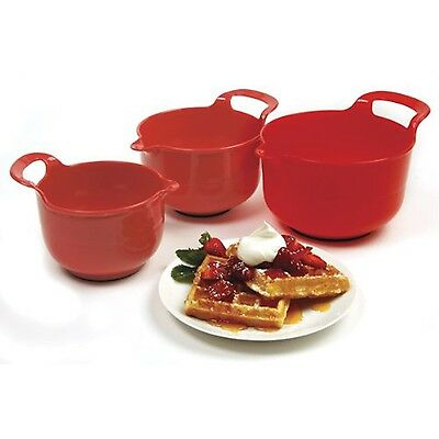 Norpro Mixing Bowls Red Set of 3 New