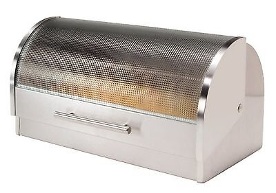 Oggi Stainless Steel Roll Top Bread Box with Tempered Glass Lid New