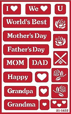 Armour Etch 21-1632 Over N Over Stencil Mom and Dan New