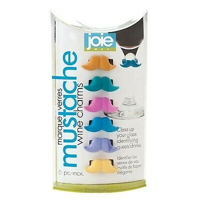 Joie 49802 Mustache Wine Charms New
