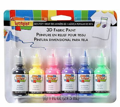 Scribbles 26512 Dimensional Fabric Paint 80's Pop 6-Pack New