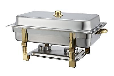 Winco Winware 8 Quart Stainless Steel Gold Accented Chafer (201) New