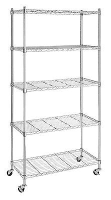 Whitmor 6056-3528 Supreme Chrome 5-Tier Shelving Unit with Wheels New