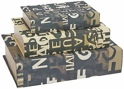 IMAX Text Collage Book Boxes Set of 3 Multi-color New