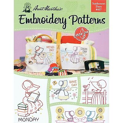 AUNT MARTHA's Sunbonnet Days Embroidery Transfer Pattern Book Kit New