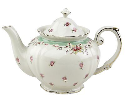 Gracie China by Coastline Imports Vintage Green Rose Porcelain 5-Cup Teapot New