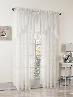 Easy Care Fabrics Classic Scalloped Floral Lace Curtain 58-Inch X 84-Inch... New