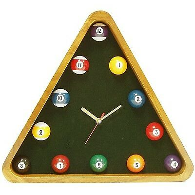 Trademark Poker Pool Rack Quartz Clock with Solid Wood Frame 14-Inch New
