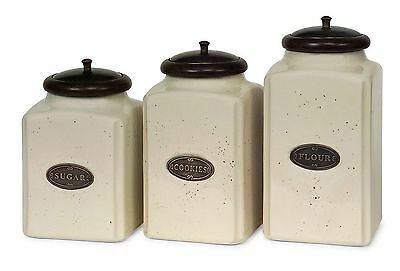 IMAX 5358-3 Ivory Canisters Set of 3 New