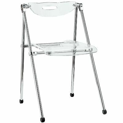 LexMod Telescoping Folding Chair Clear New