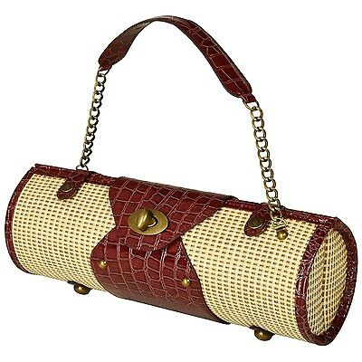 Picnic at Ascot Fashion Insulated Wine Carrier Straw/Brown New