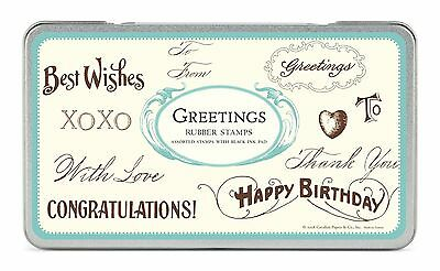 Cavallini Rubber Stamps Greetings Assorted with Ink Pad New