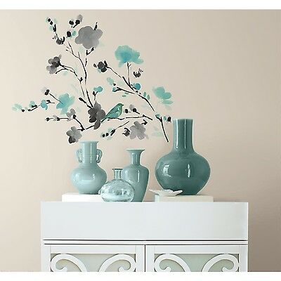 RoomMates RMK2687SCS Blossom Watercolor Bird Branch Peel and Stick Wall D... New