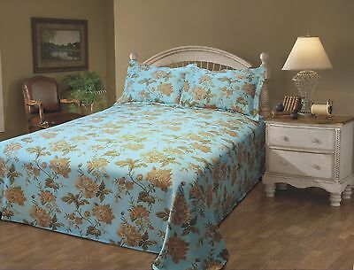 Stylemaster Emma Printed Floral King Matelasse Bedspread Sky New