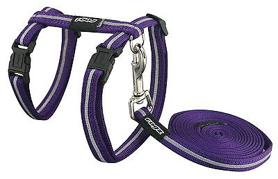 "Rogz Catz AlleyCat Small 1/8"" Reflective Adjustable Cat H-Harness and Lea... New"