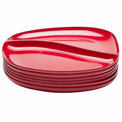 Zak Designs Moso Divided Plate 10.5-Inch Red Set of 6 New