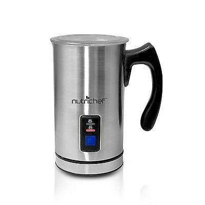 NutriChef PKMFR10 Electric Milk Frother and Warmer Stainless Steel New