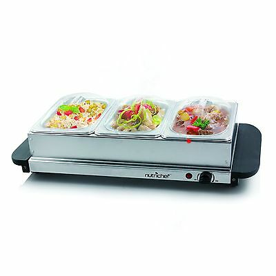 NutriChef PKBFWM33 Food Warming Tray/Buffet Server/Hot Plate Warmer Steel New