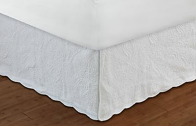 Greenland Home Paisley Bed Skirt 18-Inch White Quilted King New