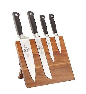 Mercer Culinary 5-Piece Genesis Knife & Magnetic Acacia Board Set Black New