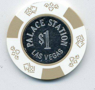 Palace Station  $1  Coin Inlay  Chip Las Vegas