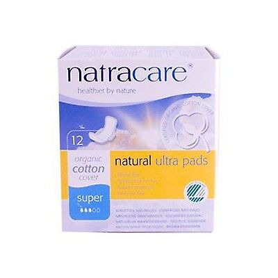 Natracare Ultra Pads with Wings Super 12 Count New