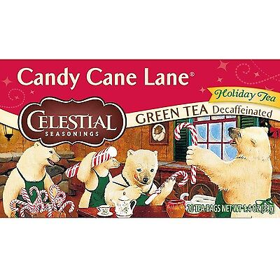 Celestial Seasonings Candy Cane Lane Holiday Decaf Green Tea 20-Count (Pa... New
