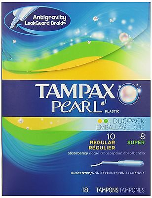 Tampax Pearl Plastic Duo Pack Regular/Super Absorbency Unscented Tampons ... New