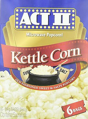 Act II Kettle Corn Microwave Popcorn (Pack of 6) New