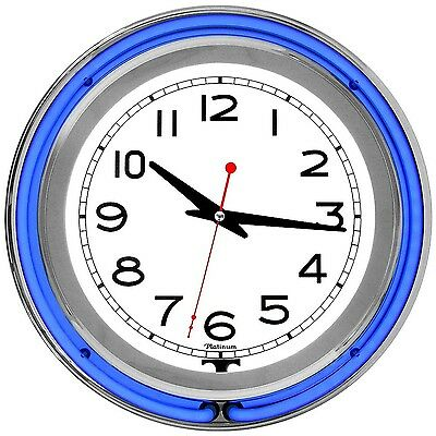 Trademark 99-1099BL 14-Inch Double Ring Blue Outer White Inner Neon Clock New
