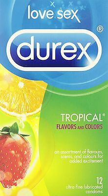 Durex Condoms Tropical Colours & Scents Lubricated  12 Count New