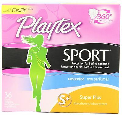 Playtex Sport Super Plus Unscented 36-Count Tampons 36ct New