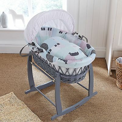 New Clair De Lune Stanley & Pip Padded Grey Wicker Unisex Baby Moses Basket