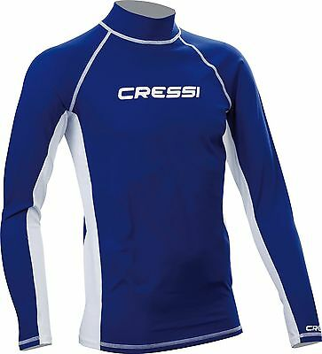 Cressi US061005 Men's Lycra Skin Long Sleeve Rash Guard X Large Blue XL/5... New