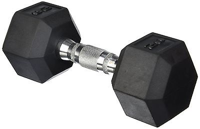 Cap Barbell SDR-015  Rubber Coated Hex Dumbbell with Contoured Chrome Han... New