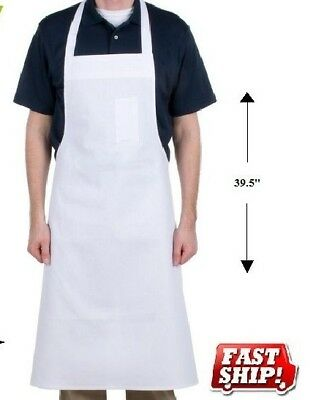 12 White Cotton Restaurant Kitchen Bib Aprons 100% Cotton White Chef Aprons Ga*